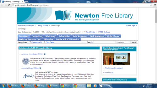 Genealogy LibGuide at the Newton Free Library
